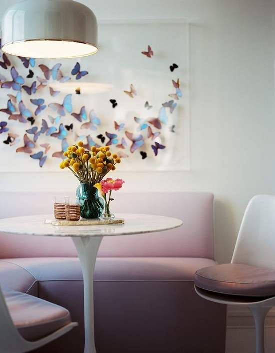 Unique wall decor with mounted butterflies